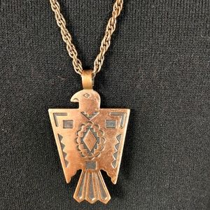 Vtg Bell Copper Thunderbird Eagle necklace